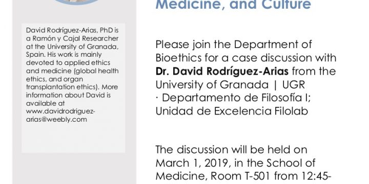"David Rodríguez-Arias: ""Spanish and American Perspectives on Health, Medicine and Culture"", March 1"