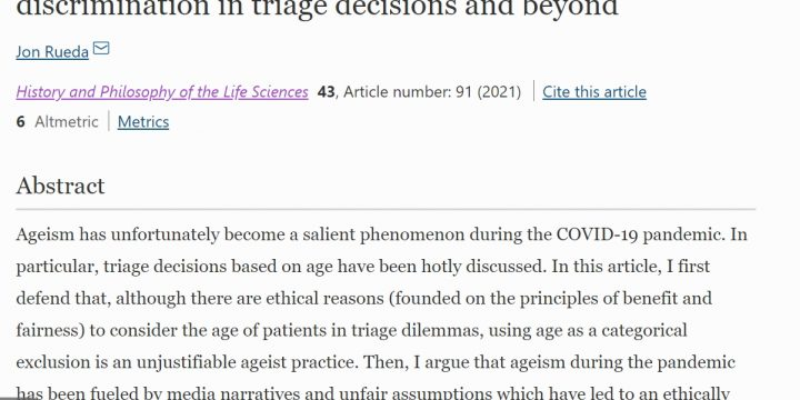 «Ageism in the COVID-19 pandemic: Age-based discrimination in triage decisions and beyond»