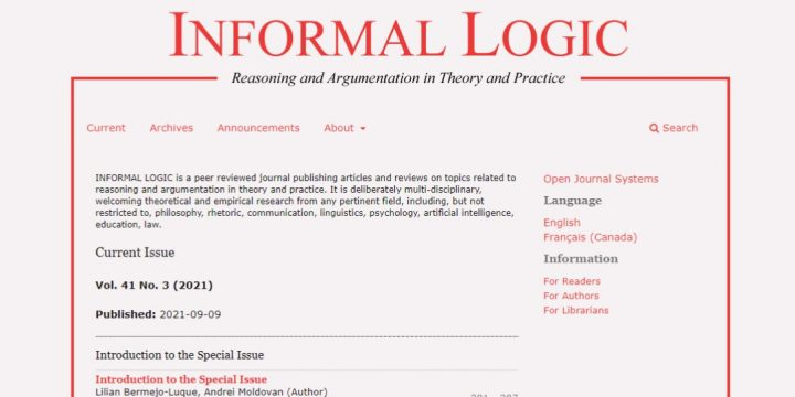 «Informal Logic. Reasoning and argumentation in theory and practice. Vol. 41 No. 3 (2021) «