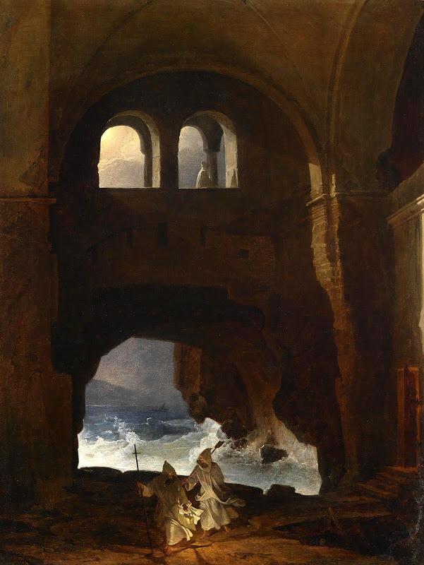 GOETZ - Franz Ludwig Catel - Mönche im Hof eines Klosters am Meer