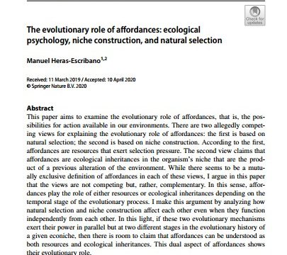 """Manuel HerasEscribano: """"The evolutionary role of affordances: ecological psychology, niche construction, and natural selection"""", 22 April"""