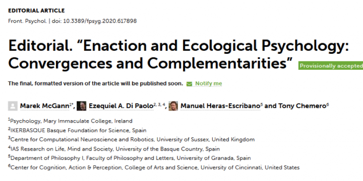 Manuel Heras Escribano: «Special issue sobre Psicología Ecológica y Enactivismo en Frontiers in Psychology»
