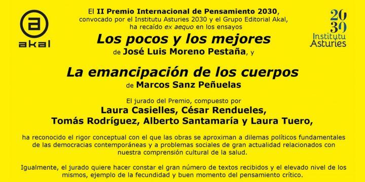 José Luis Moreno Pestaña gana el II Premio Internacional de Pensamiento 2030