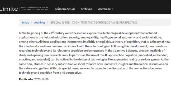 Manuel Heras-Escribano: Special issue sobre la relación entre la filosofía de la ciencia cognitiva 4E y la tecnología en la revista Límite