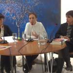 Ángeles Mora, Andrea Villarrubia y Milena Rodríguez, Mesa redonda Día de la Lectura en Andalucía, dedicada a Gertrudis Gómez de Avellaneda, Biblioteca de Andalucía, Granada, diciembre 2014