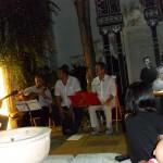 Los músicos F. Wilhelmi, M. Pérez, E. Lugones y Lázaro; y Milena Rodríguez, Recital Poesía en el Jardín, Casa de los Tiros, Granada, septiembre 2013