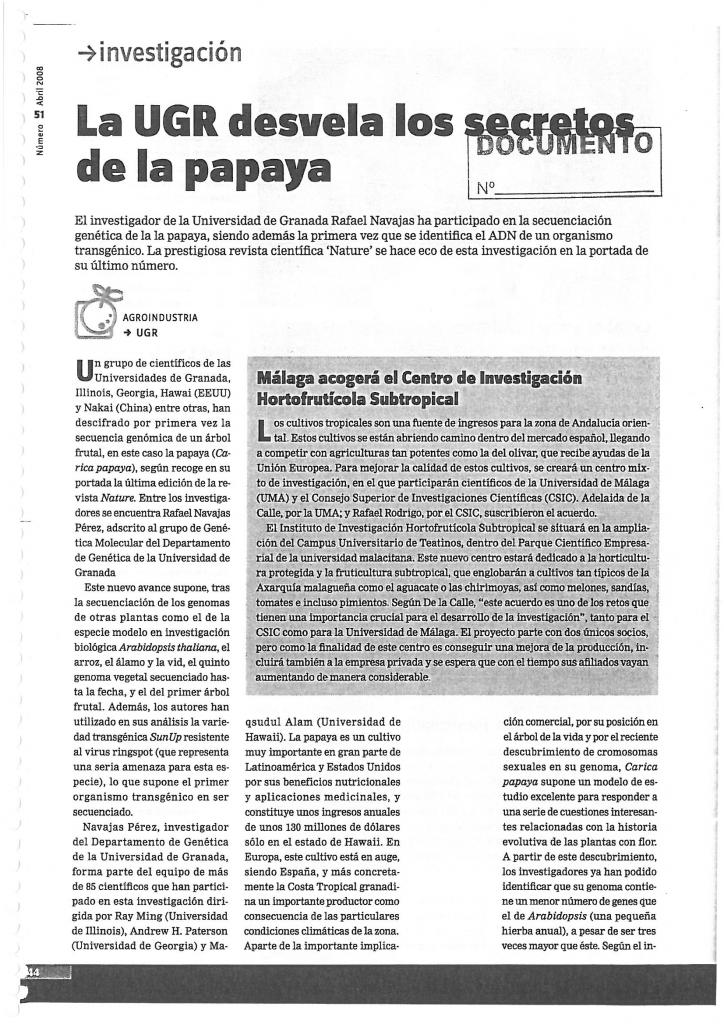 """La UGR desvela los secretos de la papaya""."