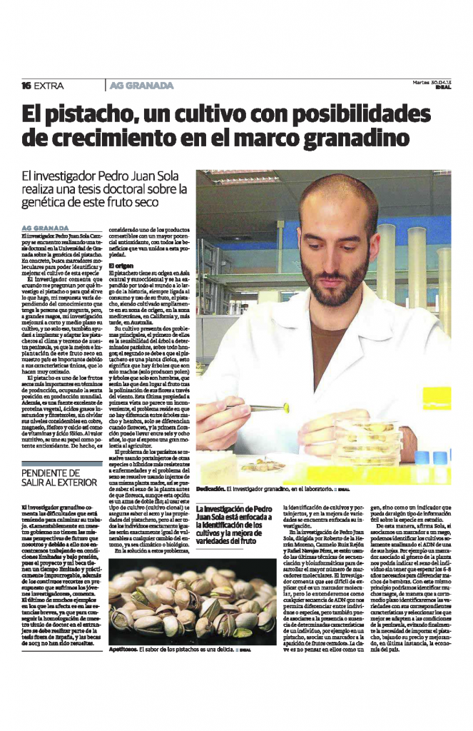 """""""El pistacho, un cultivo con posibilidades de crecimiento en el marco granadino""""."""